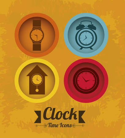 Illustration of clock and time icons, illustration Stock Vector - 19673474