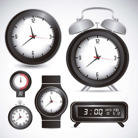 Illustration of clock and time icons, illustration Stock Vector - 19673417