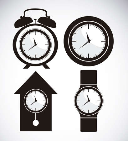 Illustration of clock and time icons, illustration Stock Vector - 19673406
