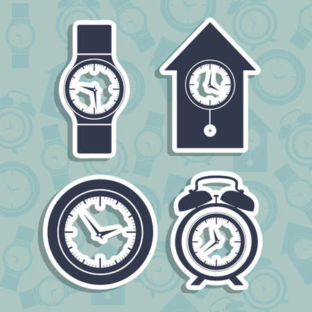 Illustration of clock and time icons, illustration Stock Vector - 19673448