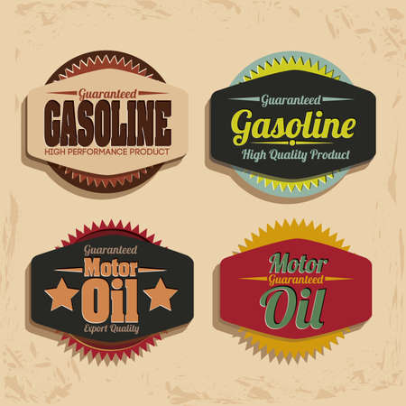 Illustration of the gasoline industry, motor oil label, illustration Vector