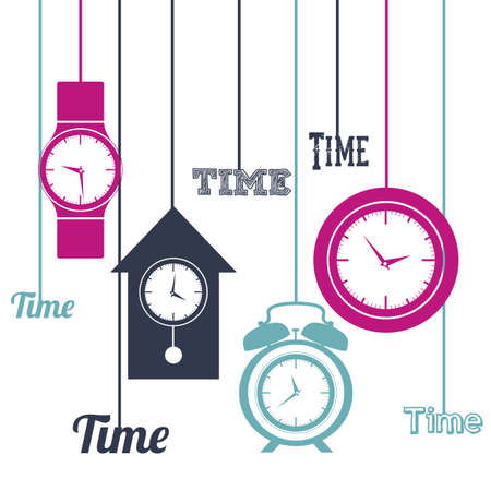 Illustration of clock and time icons, illustration  Vector