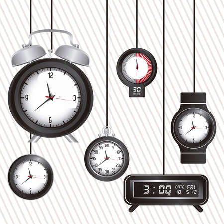 Illustration of clock and time icons, illustration Stock Vector - 19673416