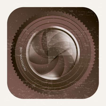 hypocenter: lens of camera over vintage background app icon Illustration