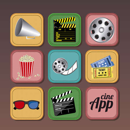 multimedia background: App icons over brown background illustration