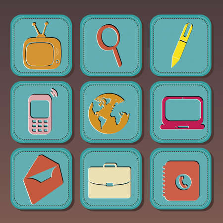 Vintage icons over gray background illustration Stock Vector - 19673541