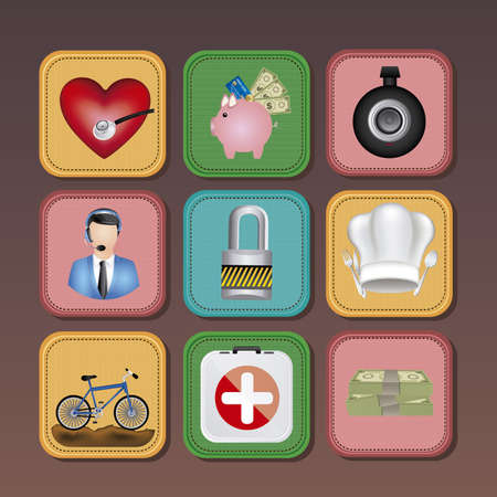 app icons over brown background illustration Stock Vector - 19673545