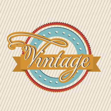Vintage seal over lines background illustration
