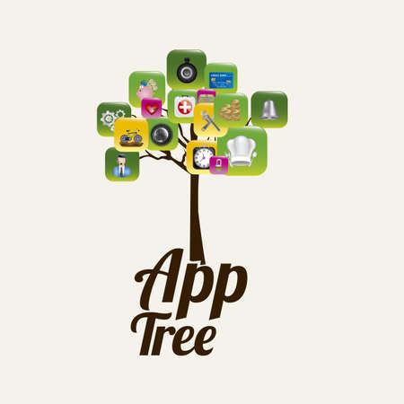 App icons with a tree over white background illustration, Vector