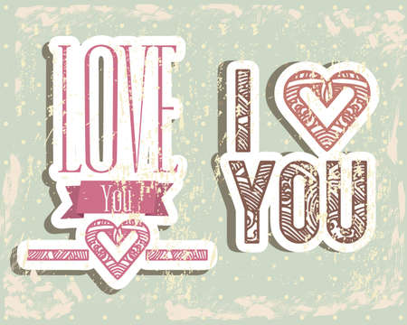 Love card over grunge background illustration Vector