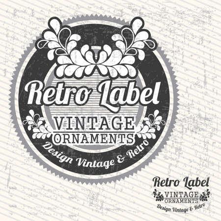 Retro label over grunge background illustration