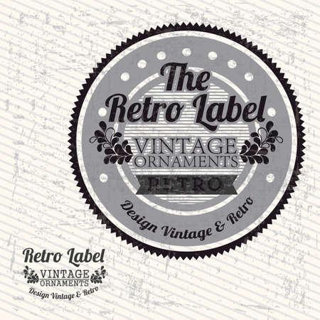 the retro label over grunge background illustration