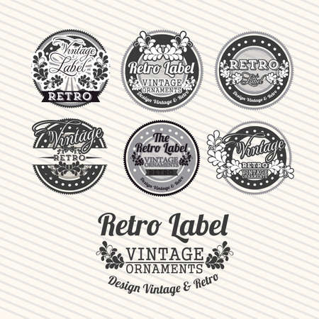 Retro label over lines background illustration