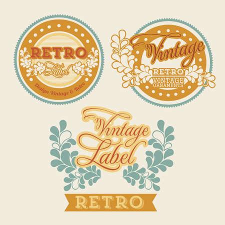 Retro label over beige background illustration