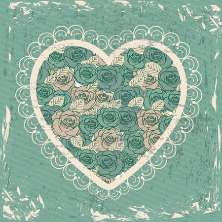 inlove: Love card over vintage background illustration