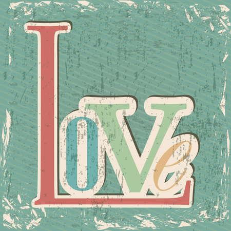 Love card over grunge background illustration Vector
