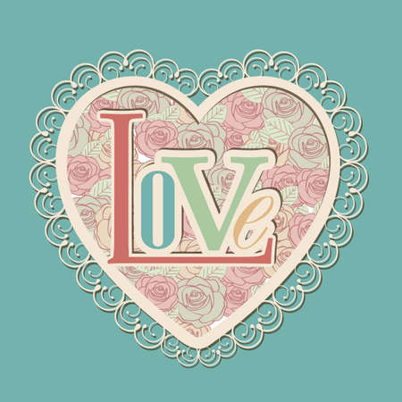 inlove: love card with flowers over blue background illustration