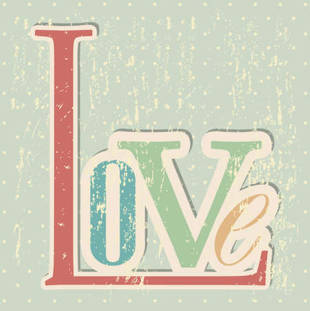 inlove: love card over grunge background illustration
