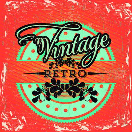Vintage seal over orange grunge background illustration