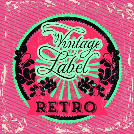 Vintage label over red background illustration Vector