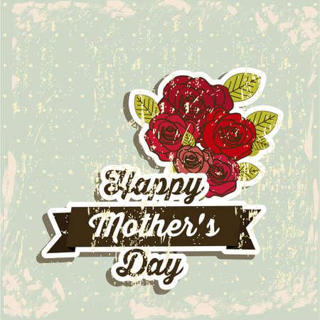 inlove: Happy Mothers day card over vintage background illustration Illustration