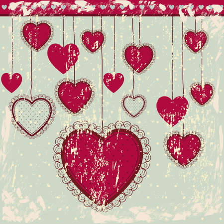 inlove: heart hanging over blue background illustration