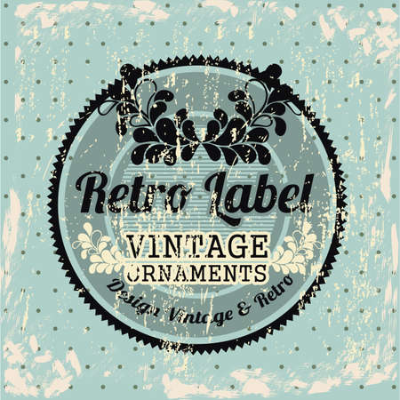 Retro label over blue background illustration