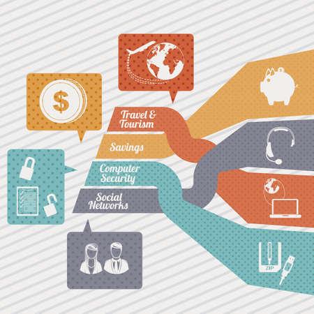 seguro social: Iconos de la comunicaci�n sobre el fondo blanco Ilustraci�n Vectores