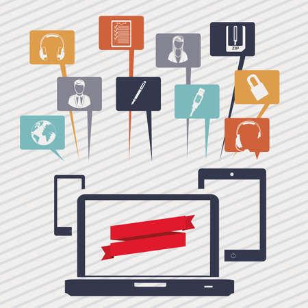Social media icons over white background illustration Stock Vector - 19918245