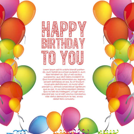 happy birthday to you over white background illustration  Vector