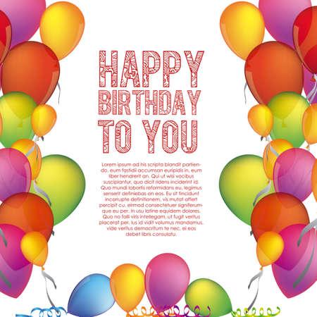 birthday frame: happy birthday to you over white background illustration