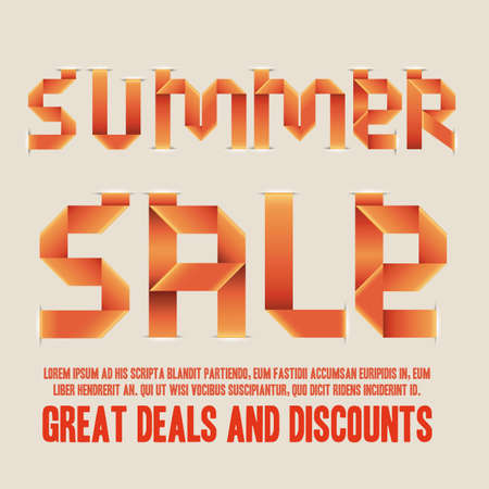 summer sale over orange background illustration  Vector