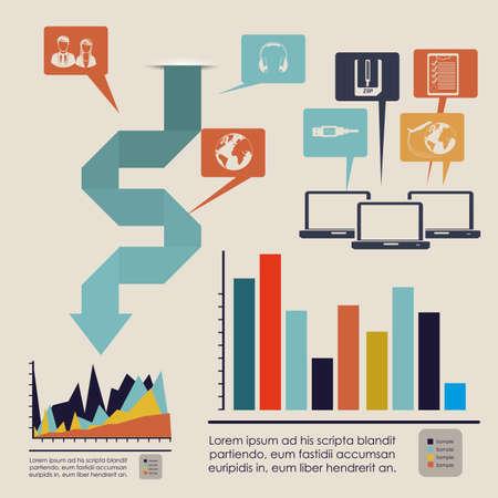 infographics bars over white background illustration  Vector