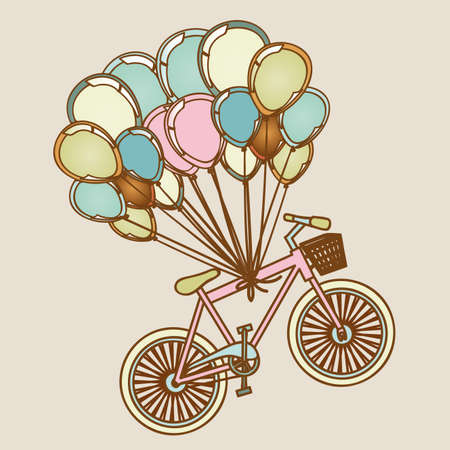 helium: bicycles and balloons over lilac background illustration
