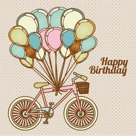 happy birthday design over dotted background illustration  Vector