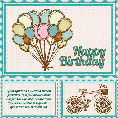 verjaardag frame: gelukkige verjaardag postkaart op gestippelde achtergrond illustratie