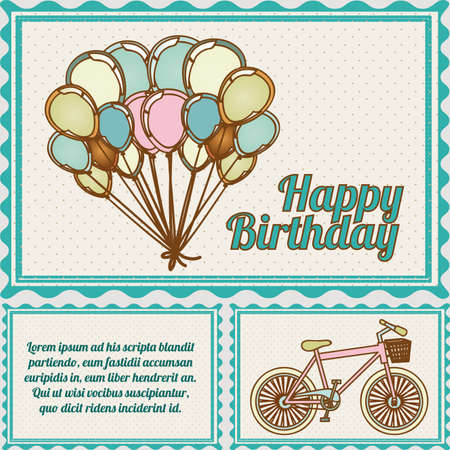 happy birthday postcard over dotted background illustration Banco de Imagens - 19918373