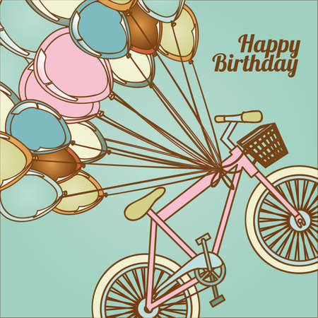 birthday design over blue background illustration  Vector