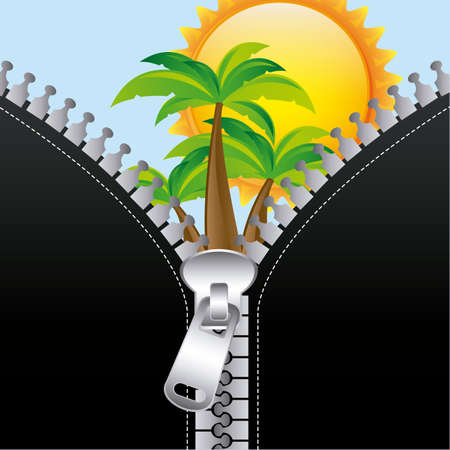 summer zip over sky background illustration  Vector