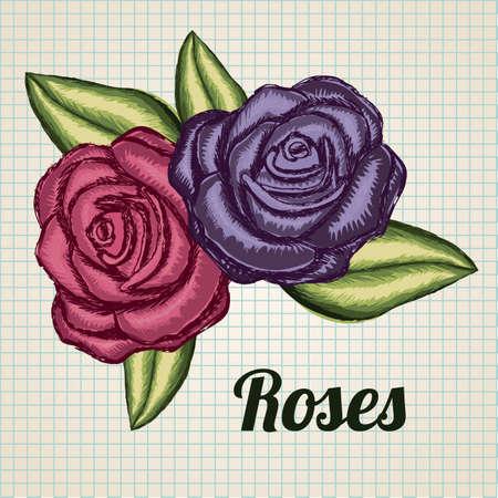 roses grunge over beige background illustration  Vector