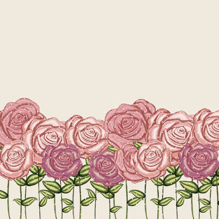 roses garden over pink background illustration  Vector