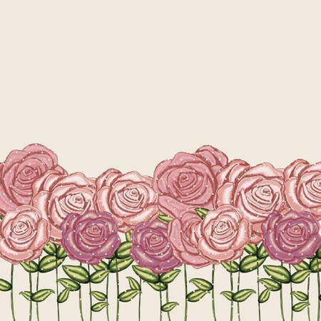 roses garden over pink background illustration Stock Vector - 19918448