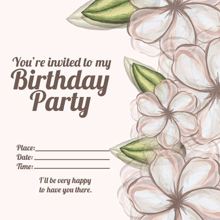 fayer: floral invitation birthday over white background illustration  Illustration