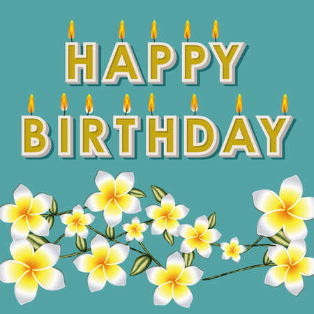 happy birthday floral over blue background illustration  Stock Vector - 19918407