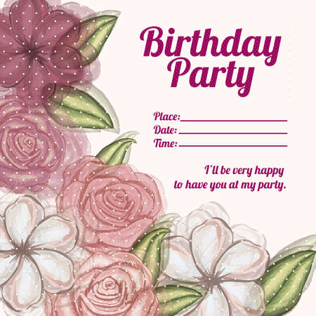 roses invitation birthday over pink background illustration  Stock Vector - 19918435