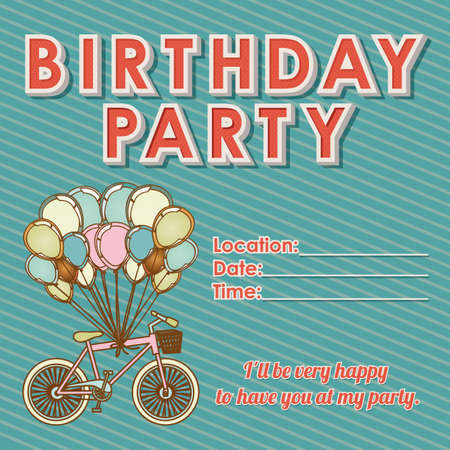 childrens birthday invitation over grunge background illustration  Vector