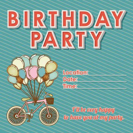 time frame: childrens birthday invitation over grunge background illustration  Illustration