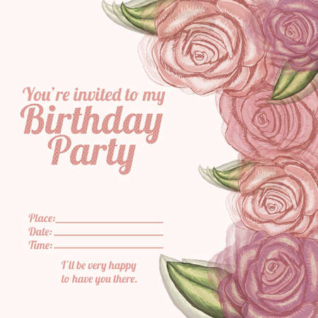 fayer: roses  invitation birthday over pink background illustration