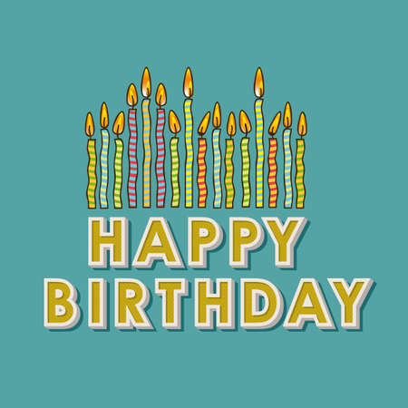 happy birthday candles over blue background Stock Vector - 19918337