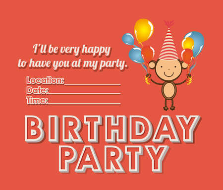 happy birthday party over red background illustration Stock Vector - 19918332